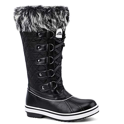 ALEADER Women's Lace Up Waterproof Winter Snow Boots Black 7 D(M) US