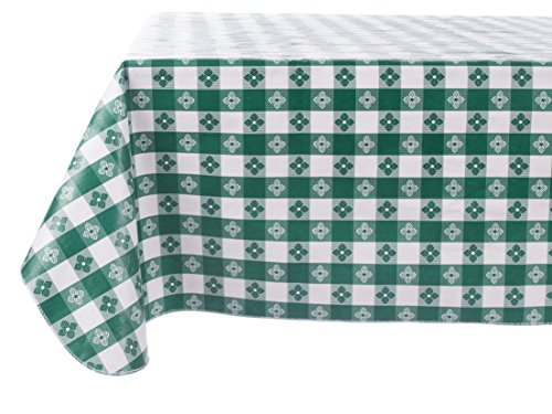 Yourtablecloth Checkered Vinyl Tablecloth with Flannel Backing for Restaurants, Picnics, Bistros, Indoor and Outdoor Dining (Green and White, 52X90 Rectangle/Oblong)