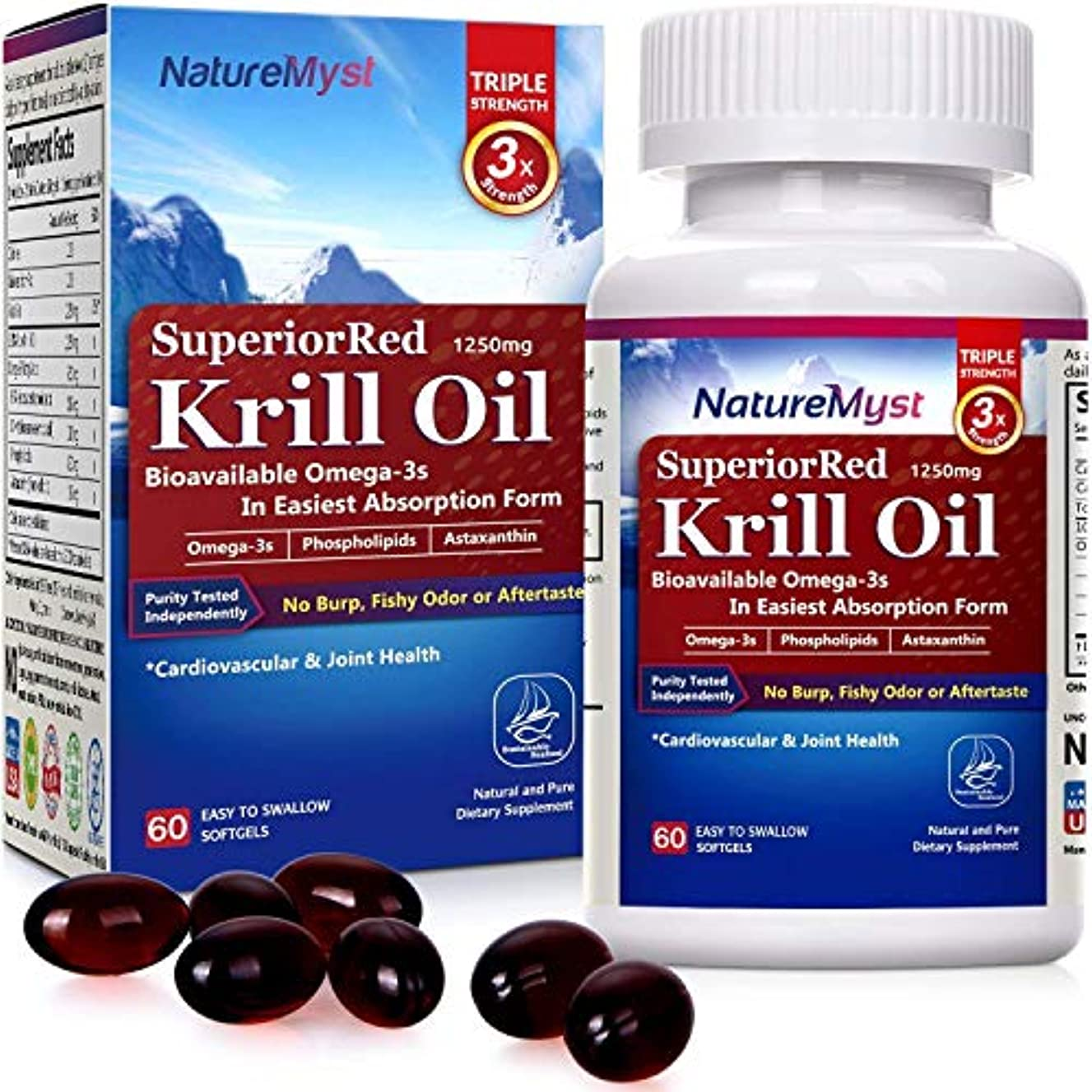 NatureMyst Krill Oil, 1250mg, Professional Grade 60 Liquid Softgels (Cut One in Half to See The Clear Difference)