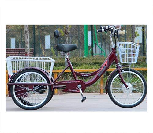 Triciclo Eléctrico Para Adultos Bicicleta Ciclomotor De 3 Ruedas Scooter De Mediana Edad Y Vejez Batería De Bicicleta De Coche Batería De Litio 48V Respaldo De Un Solo Asiento Cesta Ampliada Salida D