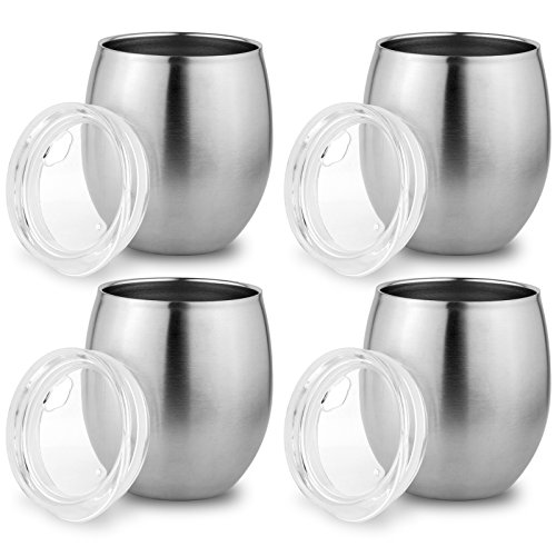 Stainless Steel Small Tumbler with Lid, Double Wall Vacuum Insulated Mug for Hot and Cold Drink, Thermal Cup with Lid for Wine or Coffee, by Zero Degree (8oz 4-Pack)