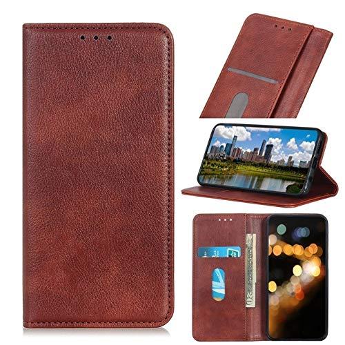 Happy-L Funda para Oppo Reno 5 Pro Plus 5G, cierre magnético integrado, piel sintética, con tarjetero, soporte para tarjetas y soporte (color: marrón)