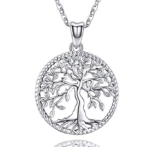 Odinstone Tree of Life Necklace, Sterling Silver Pendant for Women Girls, Best Jewelry Gifts for Mom/Wife/Grandma/Girlfriend(with Fine Gift Box)