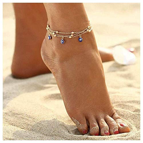 Simsly Beach Fußkettchen Teufels Auge Türkis Knöchel Armband Drei - Lagen Fuß Zubehör Schmuck für Frauen und Mädchen (Gold)