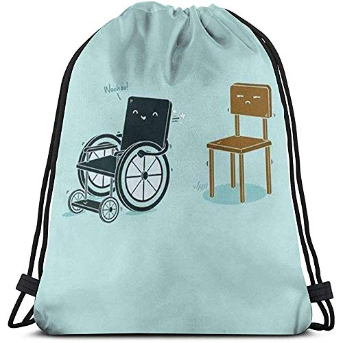 GeorgoaKunk Kordelzug Rucksack Rollstühle und Stühle 3D-Druck String Bag Sackpack Cinch Tragetaschen Geschenke für Frauen Männer Fitnessstudio Einkaufen Sport Yoga