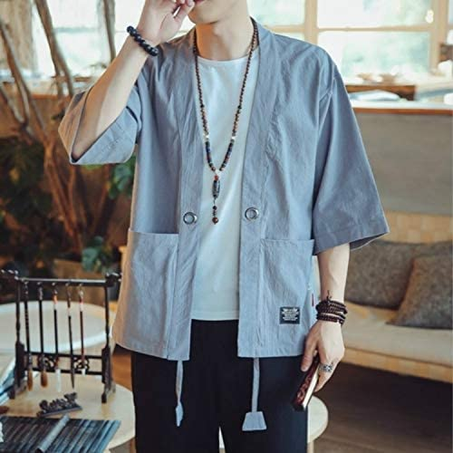 675 Men Men Cardigan Tops Three-Quarter Sleeve Chinese Style Jacket, Size:XXL(Red) Fashion (Color : Sky Blue)
