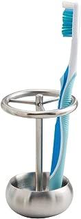 iDesign Nogu Metal Toothbrush Holder Stand for Bathroom Vanity, Countertops, Stainless Steel
