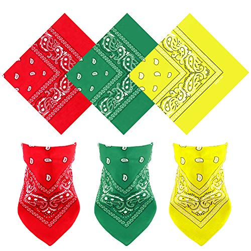 Motarto 3 Pack Cotton Paisley Bandanas Multi-purpose Cowboy Bandana Handkerchiefs Headband Scarf, Assorted Colors (Light Yellow, Green, Red, 3)