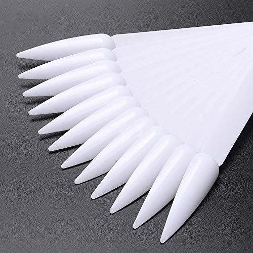 NMKL38 80pcs Stiletto Nail Sticks, Fan-shaped Nail Art False Tips Color Card, Gel Nail Polish Display Board, Detachable Practice Sticks Wheel with Ring Holder (White)