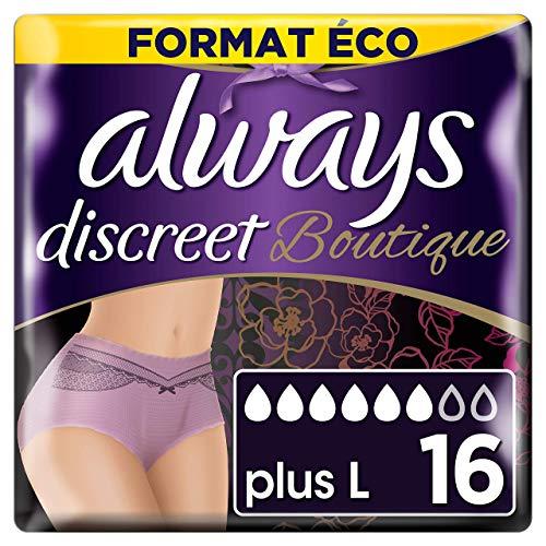 Always Discreet Boutique - Culottes pour incontinence / fuites urinaires, Taille L, Format éco x16 (plusieurs couleurs disponibles)