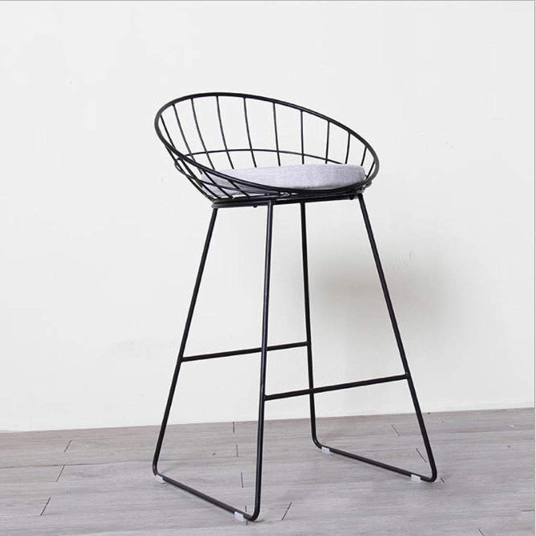 Bar stools Leisure Bar Stool High Stool Iron Vine Cushion Cushion Height 45cm, 75cm, Black and White gold Optional Height Chair (color   Black, Size   45cm)