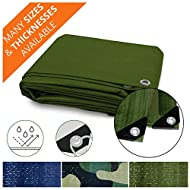 Heavy Duty Tarps | Waterproof Ground Tent Trailer Cover | Multilayered Tarpaulin in Many Sizes and Thicknesses | 15 Mil - Green - 16' x 20'