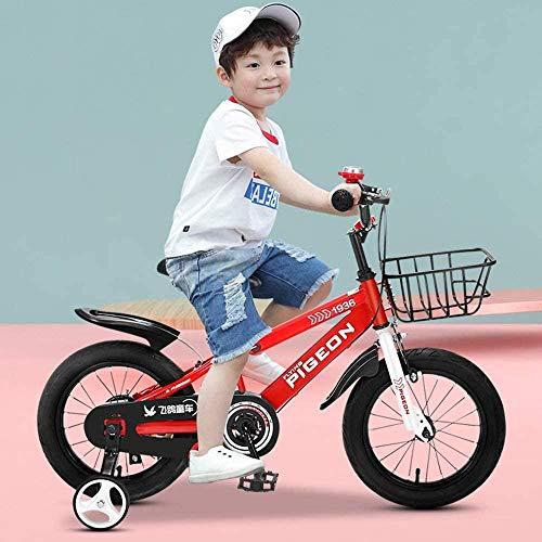 Bicicletas para niños y niñas | Bicicletas con ruedas de entrenamiento y cestas | Bicicletas para niños | 12 16 18 pulgadas | 2-6 años de edad_rojo_18 pulgadas