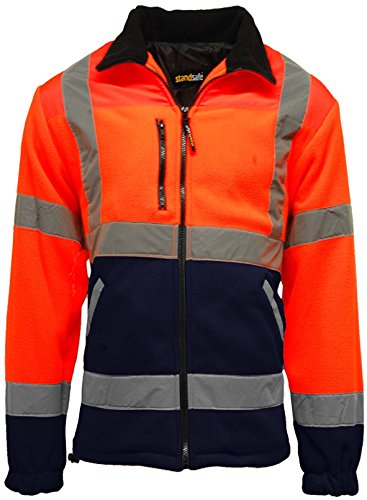 Para hombre Premium Safety Hi Vis Viz visibilidad forrado Trabajo Chaqueta de forro polar multicolor Orange/Navy Medium