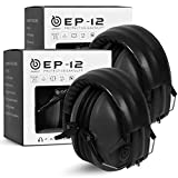 EAREST 2 Pack Hearing Protection Ear Muffs, NRR 20dB Professional Noise Reduction Safety Earmuff/Ear Defenders/Ear Protector for Shooting/Hunting/Yard Working Fits Kids (Black)