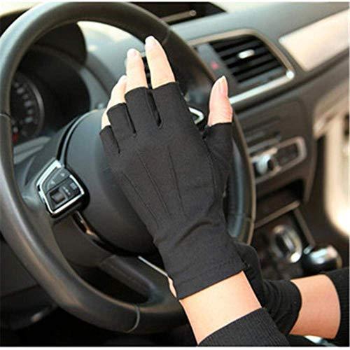 ZHTY Sonnencreme Handschuh Sommer Sonnencreme Handschuhe für Männer und Frauen dünne Abschnitt schweißabsorbierende atmungsaktive rutschfeste halbfinger Fahrhandschuhe Song (Color : Black, Size : M)