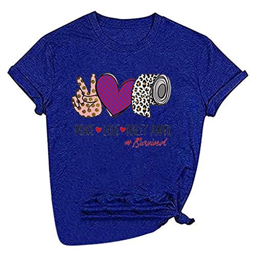 MINGGER Damen Leopard Peaces Love Toilettenpapier Shirt Kurzarm Lustige Love Life Tops (Blau, XL)