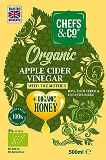 CHEFS & CO Vinagre orgánico de sidra de manzana con miel orgánico | con Madre del Vinagre | botella de vidrio | Crudo Puro ACV | Sin Refinar | 5% de acidez
