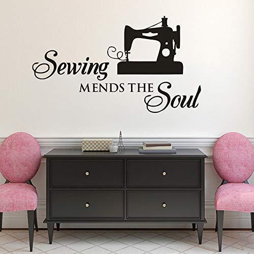 Adhesivo decorativo para pared de máquina de coser con cita del alma para coser o coser, tamaño A4, 57 x 33 cm