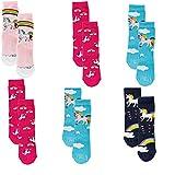 CundC KIDS Kinder Socken,6Pack31/34,Pony-Einhorn