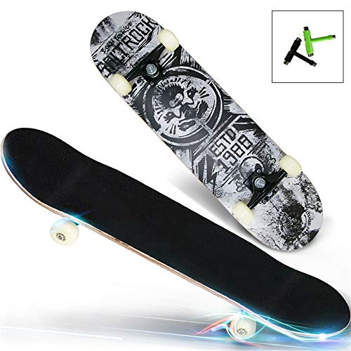 Find Discount ShurndGao Skate Board Maple Skateboard Complete Standard Dance Skate Board for 5 Up Ye...
