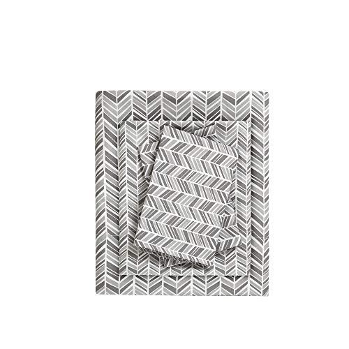 Madison Park Essentials Sheet Set Printed Ultra Soft, Queen, Grey