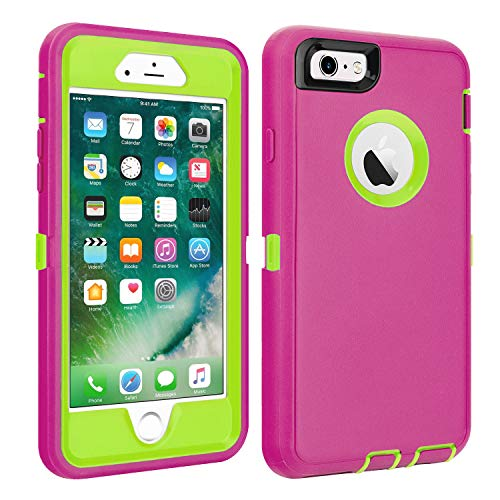 "iPhone 6/6S Case Shockproof High Impact Tough Rubber Rugged Hybrid Case Silicone Triple Protective Anti-Shock Shatter-Resistant Mobile Phone for iPhone 6/6S 4.7""(Pink)"