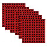 MoonyLI 4Pcs Tovagliolo per Cena in Tessuto Scozzese Natalizio Adesivi in Stoffa Scozzese Rosso e Nero Tessuto pretagliato in Tessuto Scozzese Tessuto a Quadri Tovaglioli in Tessuto Natalizio