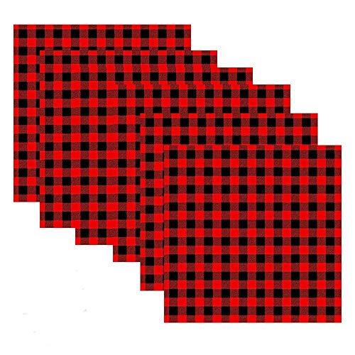 MoonyLI - Servilletas de tela a cuadros de Navidad (4 unidades), color rojo y negro