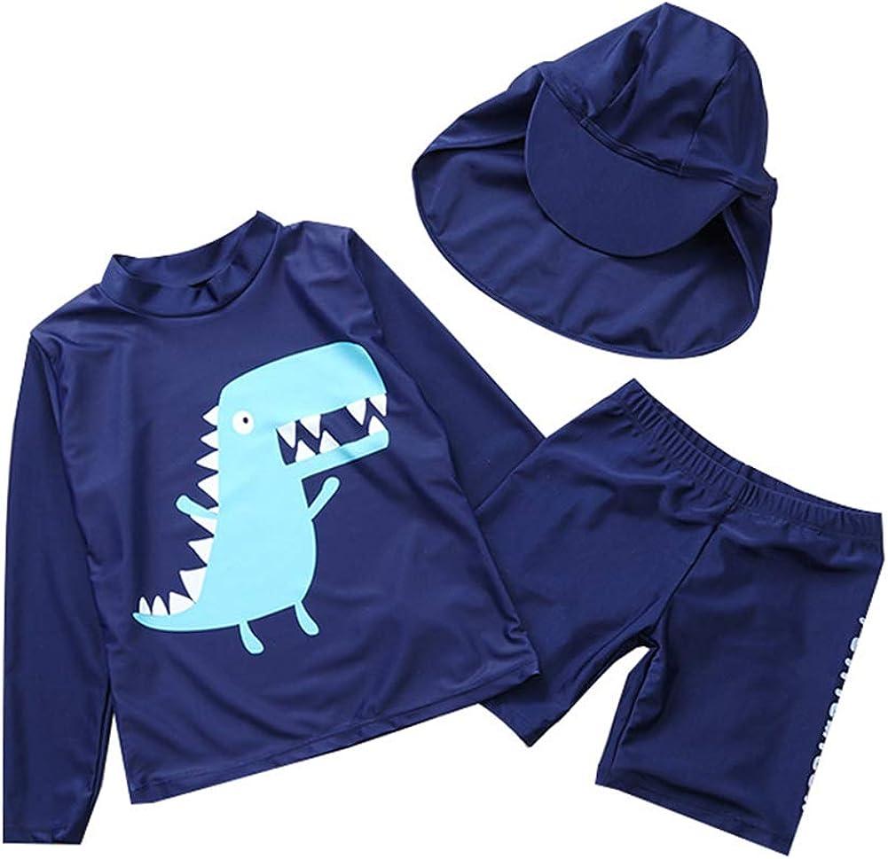 Toddler Boys Two Piece Rash Guard Swimsuits Kids Long Sleeve Sunsuit Dinosaur Bathing Suit Swimwear Set and Hat