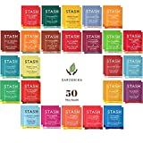 Stash Tea Bags Variety Pack - Herbal and Decaf - Caffeine Free Assorted Teas - Tea Sets for Women and Men - 50 Ct, 25 Different Flavors - 100% Handmade Cotton Pouch Included