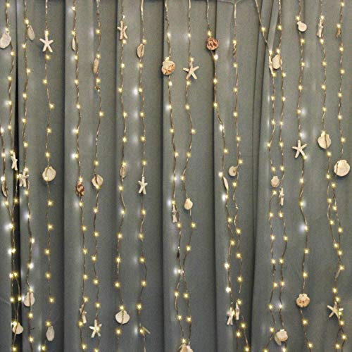 Impress Life Beach Themed Decoration, Coastal Curtain Lights 8x5 Feet with...