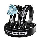 DS Jewels His and Hers Matching Wedding Band Ring Set 14K Black Rhodium Plated Alloy 6 MM Heat Cut CZ Aquamarine Engagement Trio Bridal Set