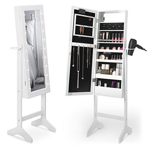 Beautify LED Armoire à Bijoux de Rangement sur Pieds avec Serrure Miroir Armoire à Bijoux et Maquillage – 36.5 x 51 x 145 cm