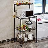 LENTIA Bäckerregal Küchenregal Stabiler Mikrowellenhalter Servierwagen Küche Aufbewahrungsregal 4 Etagen Standregal für die Küchenutensilien schwarz 57 * 35 * 122cm