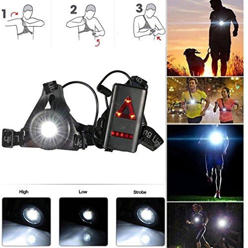 Fulltime® Rechargeable USB LED Eclairage de Poitrine pour Course, Lampe 3 Modes 250 LM Étanche, Léger, Confortable et Idéal pour Jogging, Promenade, Camping, Course, Pêche, Escalade, Sports Extérieur