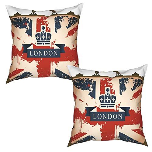 2 Piezas Fundas de Cojines Maleta de Viaje Vintage con Imagen de Corona y Cinta de la Bandera británica de Londres Suave Almohada Decorativo para Habitacion Sofá Dormitorio Oficina Sala-45x45cm