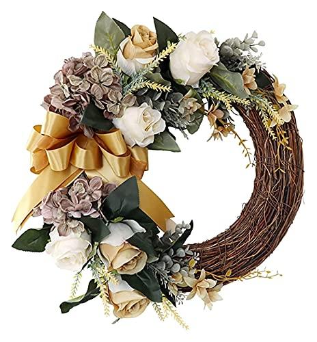 HAISERVEN 存続した人工花輪の前の玄関の飾りのための人工的な花輪の装飾のための人ハジアシャンパンローズホームの結婚式の丸い壁掛けドアの装飾ホームガーデンクリスマスデコ 花輪 (Color : A)
