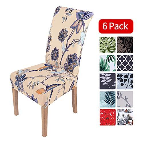 Homaxy Universal Stretch Stuhlhussen 2er 4er 6er Set Stuhlbezug für Stuhl Esszimmer (6er Set, Style 8)