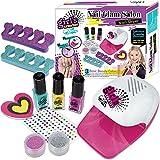STAY GENT Lavable Maquillaje Infantil para Arte de Las Uñas, 10Pcs Real Set de Maquillaje Pintauñas Niñas con el Secador de Uñas, Cumpleaños para Niñas de 5+ años