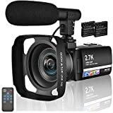 Videocámara Cámara de Video 2.7K 30MP Videocamara Full HD con Pantalla Táctil IPS de 3,0 Pulgadas Cámara de Video Digital de Youtube con Micrófono