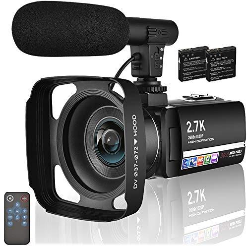 Camcorder Videokamera 2.7K 30MP Camcorder Full HD 3.0 Zoll IPS Touchscreen Digitalkamera für YouTube Videokamera mit Mikrofon und Fernbedienung