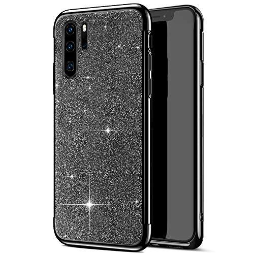 JAWSEU Kompatibel mit Huawei P30 Pro Hülle Silikon Glitzer, Kristall Bling Glitzer Glänzend Strass TPU Silikon Schutzhülle Durchsichtig Handyhülle Tasche Case Etui für Huawei P30 Pro, Schwarz