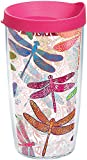 Tervis 1245293 Dragonfly Mandala Tumbler with Wrap and Fuchsia Lid 16oz, Clear