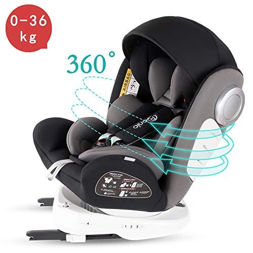Bonio kinderzitje 360 ° rotatie baby autostoel groep 0+/1/2/3 (0-12 jaar oud) ISOFIX en LATCH interface met zijdelingse bescherming voor baby's 0-36 kg Eén maat zwart (zwart-7)