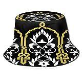 PUIO Sombrero de Pesca,Moorish Fez Seamless Border Ocre en,Senderismo para Hombres y Mujeres al Aire Libre Sombrero de Cubo Sombrero para el Sol