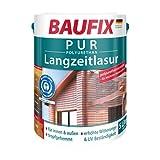 BAUFIX PUR-Langzeitlasur teak, 5 Liter, wasserbasierte Langzeitlasur mit hoher Haltbarkeit für innen und außen, für alle Holzarten geeignet, witterungsbeständig, UV-beständig