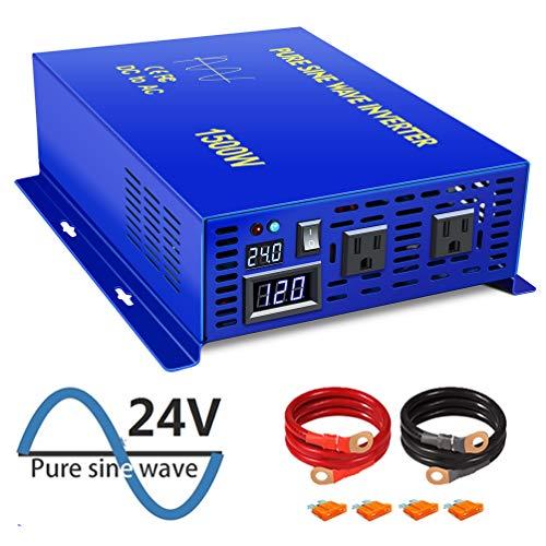 XYZ INVT 1500W Power Inverter 24V DC to 110V 120V AC with LED Display Dual AC Outlets for Car RV Truck Boat (1500W24V)