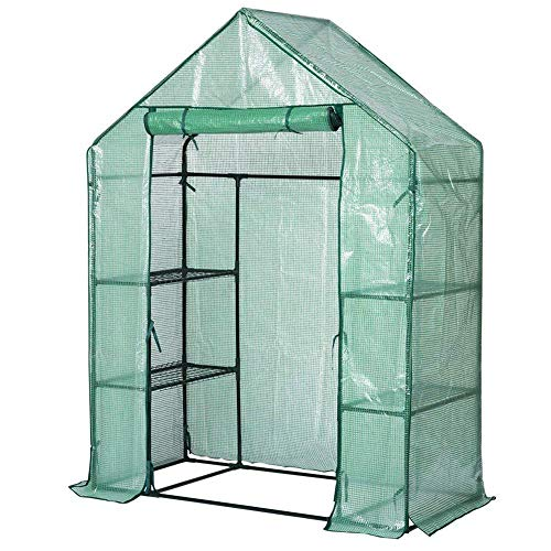 Froiny Walk-in Greenhouse Cover Plastic Replacement Garden Cover Shelf Portable Green House Plant...