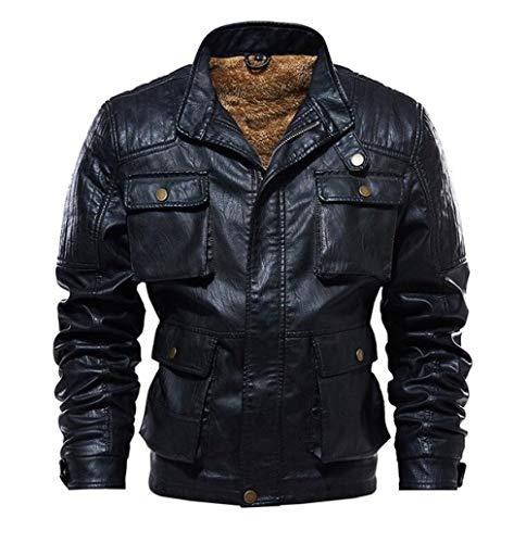 EIJFKNC Lederjacke Winter Dicke warme PU-Lederjacken Herren Outwear Mäntel Multi-Pocket-Kunstlederjacke Plus Größe 5XL, schwarz, XXXL